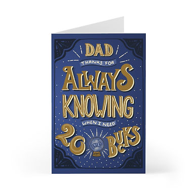 Thanks Dad Greeting Card Pack