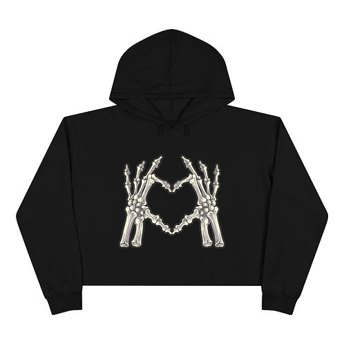 Skeleton Heart Crop Hoodie