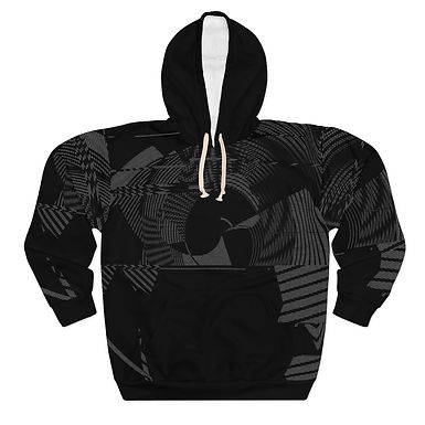 Abstract Black Pattern Pullover Hoodie