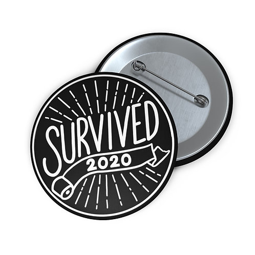 Survived 2020 Black Pin Buttons