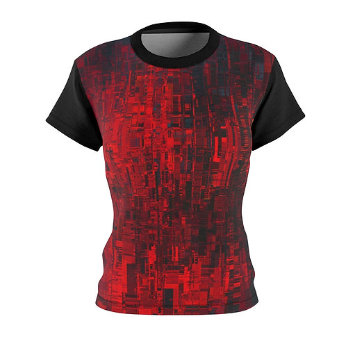 Red Cyberpunk Fitted Tee
