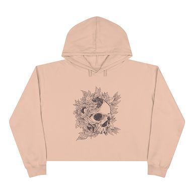 Floral Skull Crop Hoodie