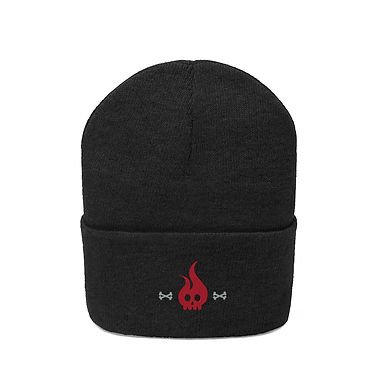 Flame Skull Embroidered Beanie