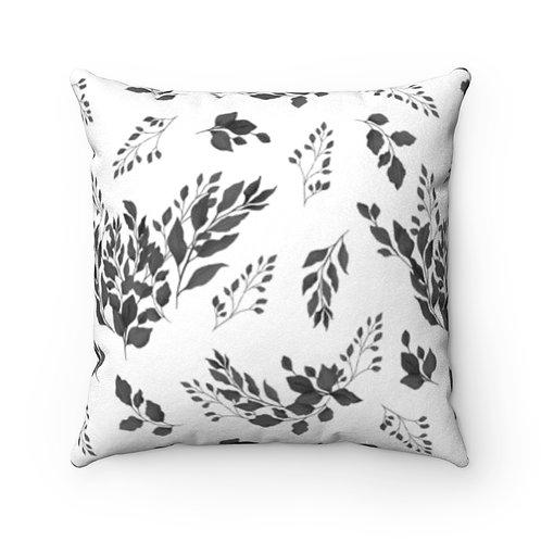 Black & White Foliage Suede Pillow