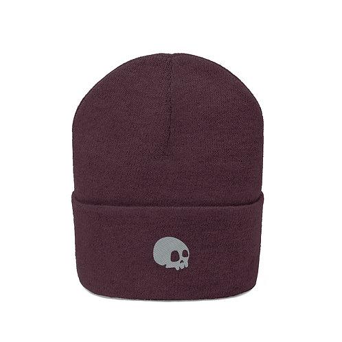 Minimal Skull Embroidered Beanie