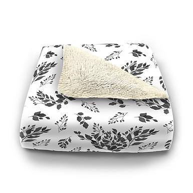 Black & White Foliage Plush Blanket