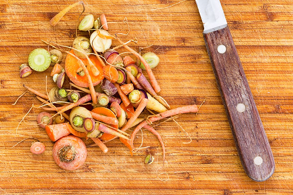 Scraps leftover from cutting raw carrots