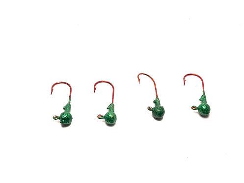 ROUND JIG HEADS (GREEN SPARKLE)