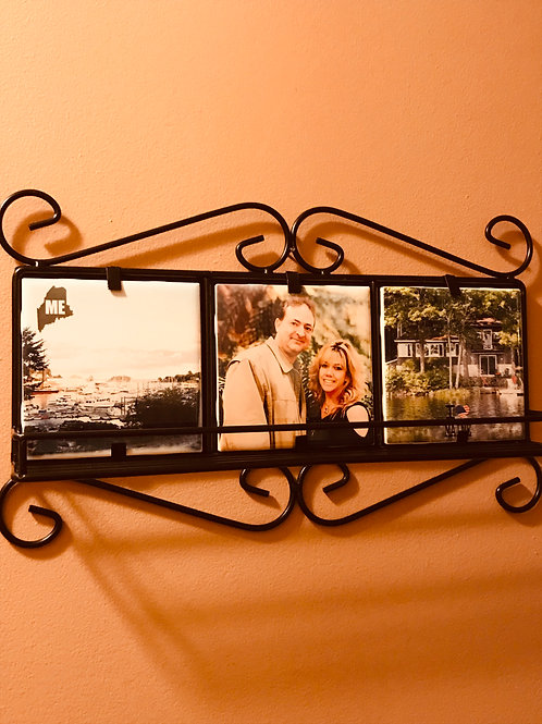 Photo Tile Holder with Shelf for Wall w/Glossy Ceramic Tiles