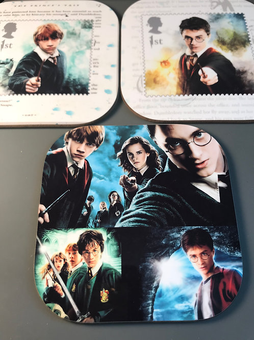 Harry Potter Glossy White Hardboard Coasters Set of 4 with Holder