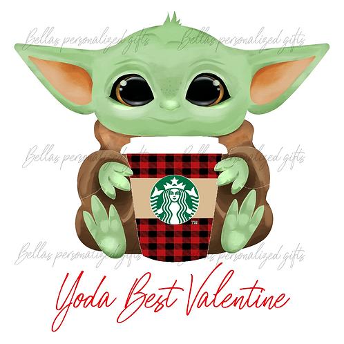 Valentine Yoda with Starbucks