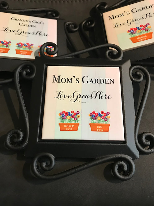 Wrought Iron Garden Stake with Personalized Ceramic Tile