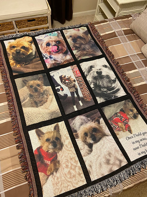 9 Panel Photo Fringed Photo Throw Blanket