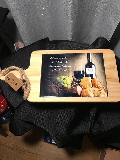 7 x 15 Wood Cheese Board w/ Glossy Ceramic Tile Inlay
