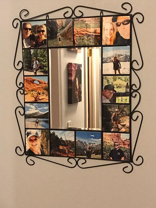 Wrought Iron Mirror with 14 Photo Tiles