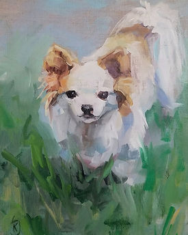 painting of dog, in memory of dog, fur baby