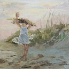 painting of child on the beach, girl dancing on the beach, flowing white beach dress for children