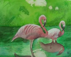 flamingo-watercolor-charlotte-art-class