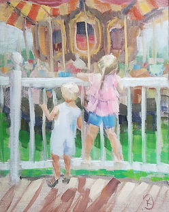 children-in-line-for-the-carousel-by-kate-stewart