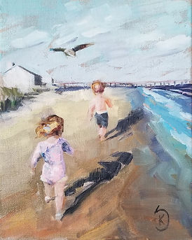 painting of children on the beach, paint my photo