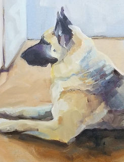dog painting, dog artist, painting for friend who lost pet