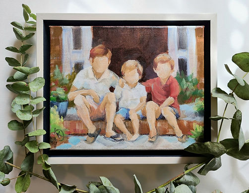 Commissioned painting of brothers, painting of children, orginal work of art from artist, commissioned custom art