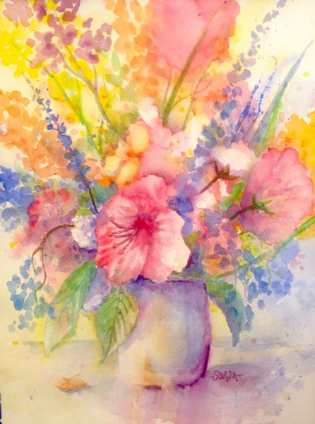 "Hibiscus / Watercolour / 11"" x 15"" / $450"