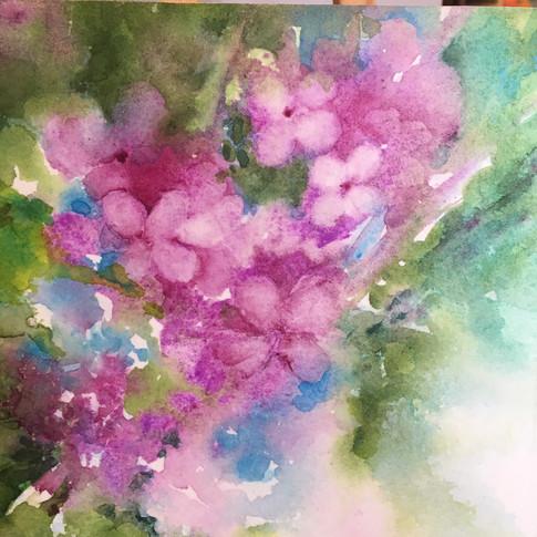 "Flower Dance 2 / Watercolour / 6"" x 6"" / $50"