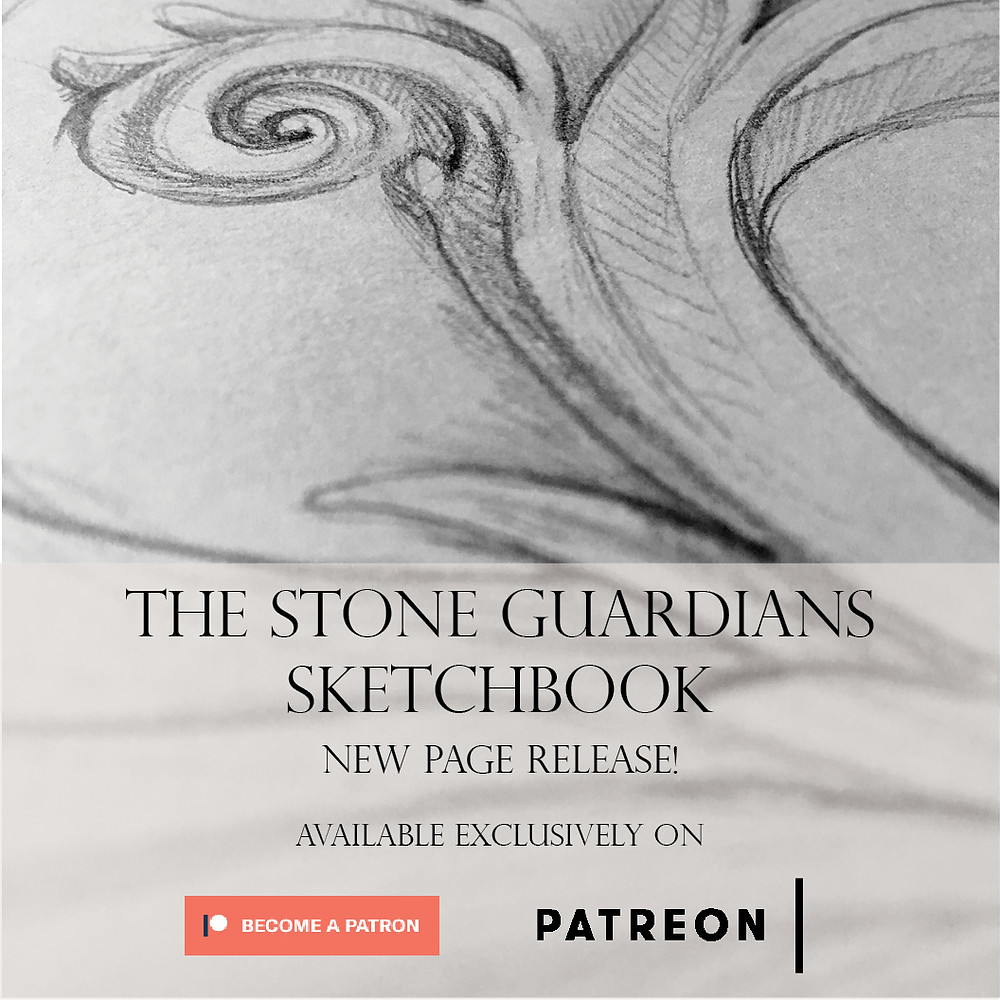 Bonus Stone Guardians Sketchbook Page release for November, Exclusively on Patreon.