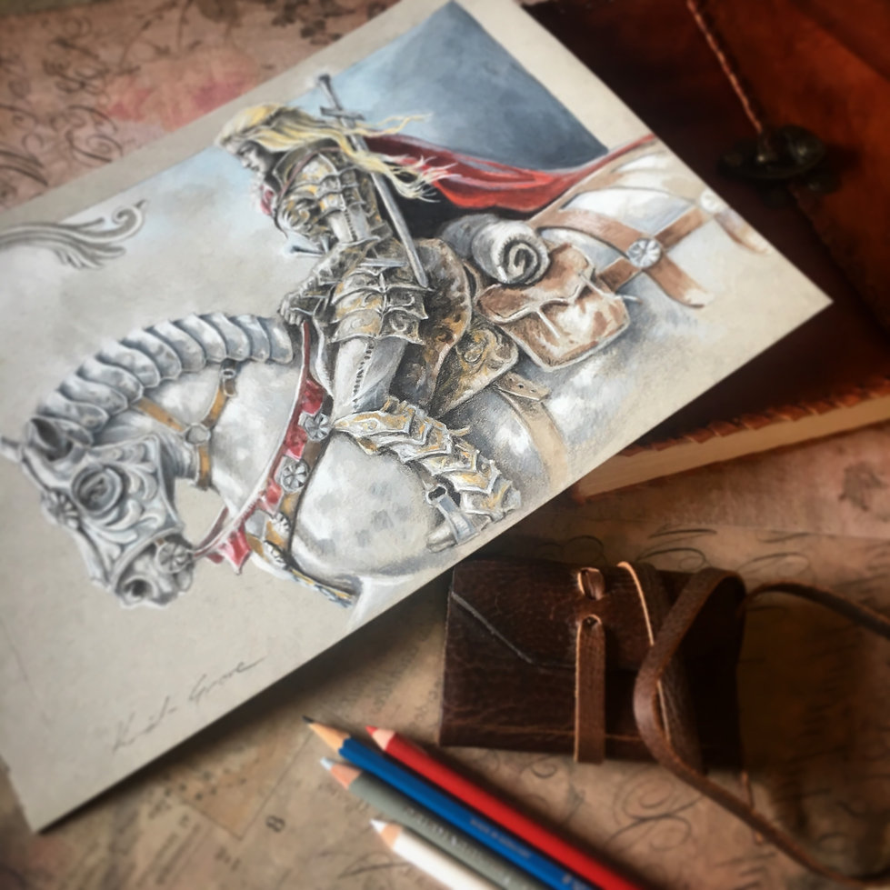 Rowan and her Warhorse illustration by Kindrie Grove