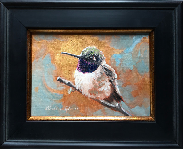 Golden Creatures: Sitting Pretty Black-chinned Hummingbird (SOLD)