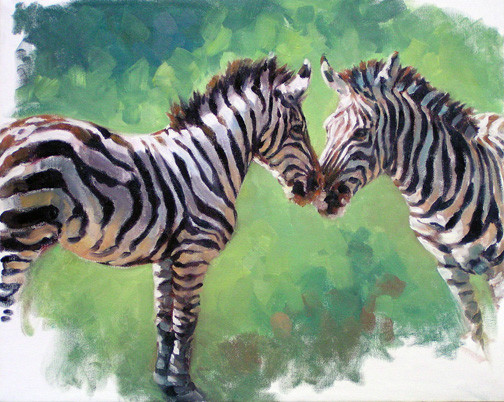 Young Zebra and Mare