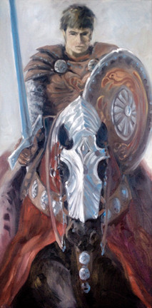 "First Guardian and Warhorse / Oil on Canvas / 18"" x 30"" / $3,200"