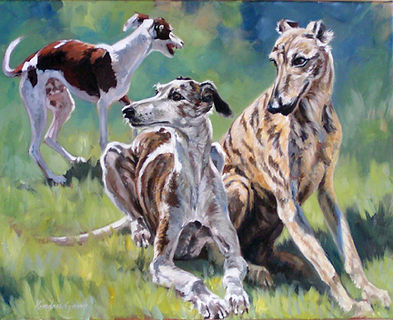 Whippet Commission painting by Kindrie Grove