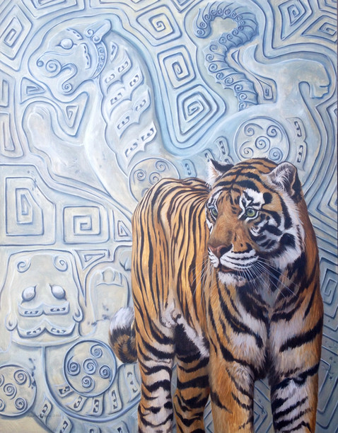 "Ancient Tableau Sumatran Tiger / Oil on Canvas / 3"" x 4"" / SOLD"