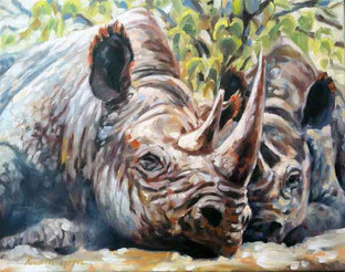 Rhino Cow and Calf (SOLD)