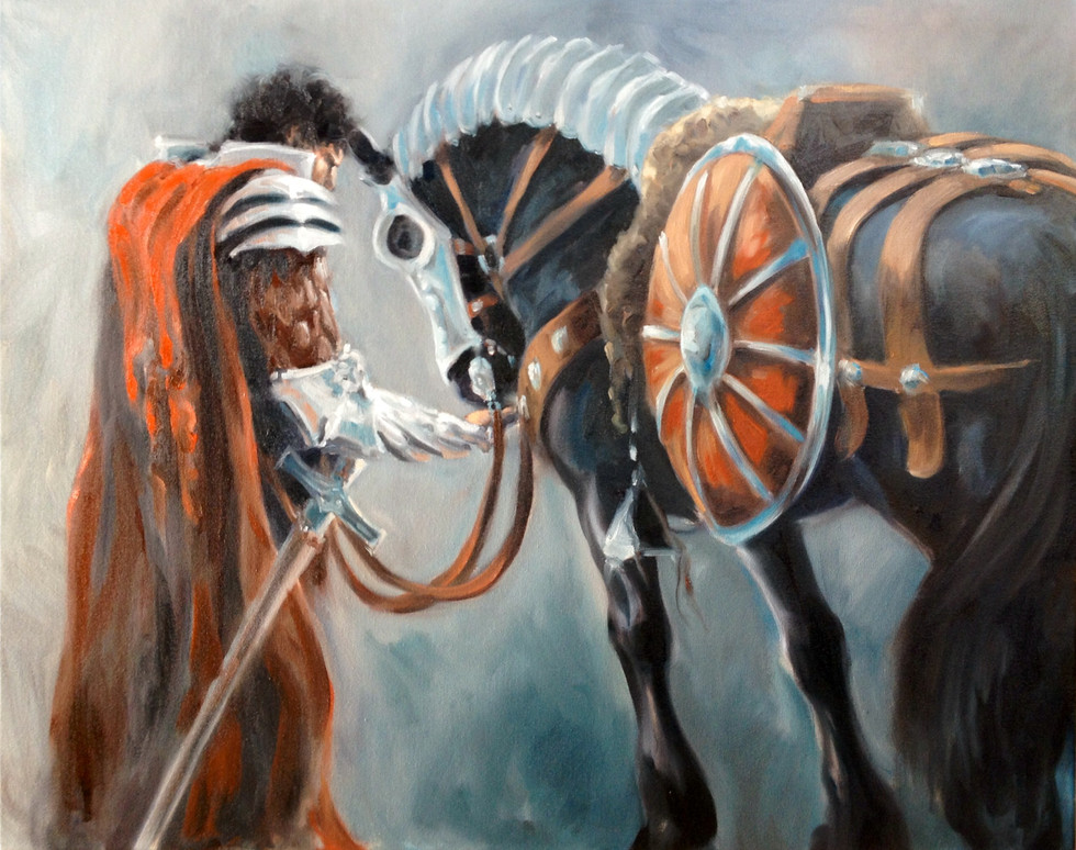 "Torrin and his Black Warhorse / Oil on Canvas /  24"" x 30"" / $3,200"