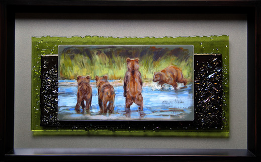 """Watch and Learn / 16"""" x 10"""" / Oil on Aluminum & Fused Glass / $1600"""