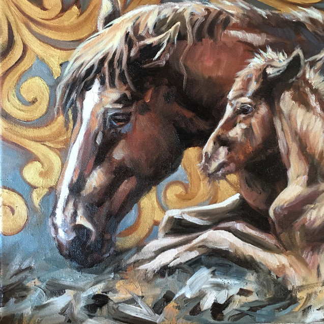 Golden Creatures: Mare and Foal