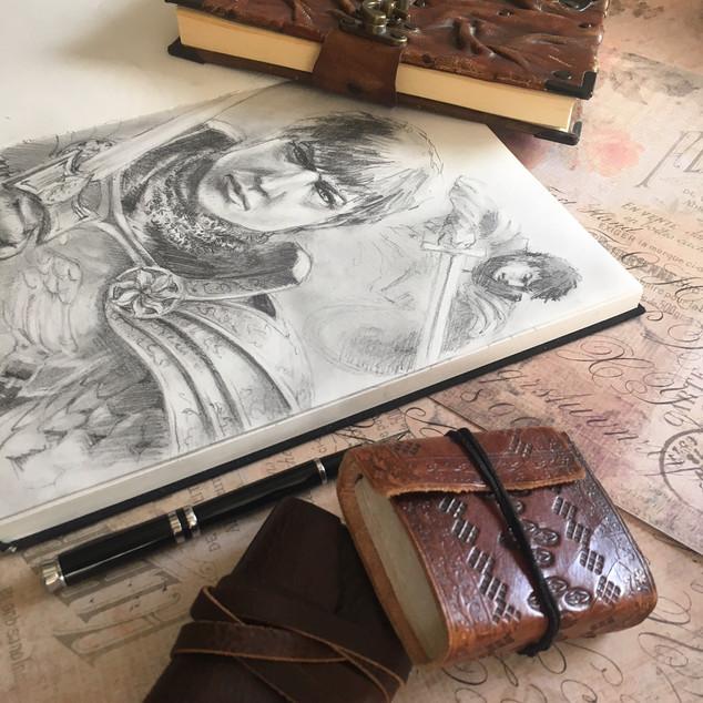 Stone Guardians Sketchbook Page