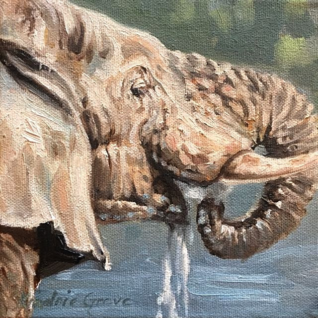 "Slaking Thirst / Oil on Canvas / 6"" x 6"" / SOLD"