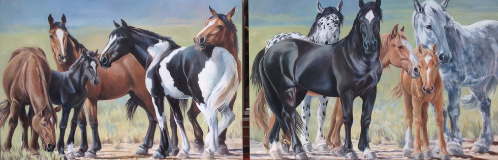 """The Herd / Commission / 144"""" x 48"""" / Oil on Canvas / SOLD"""