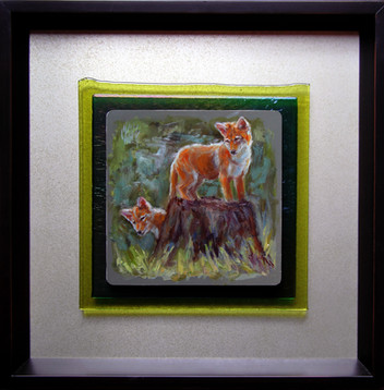 """Hide and Seek / 12"""" x 12"""" / Oil on Aluminum & Fused Glass / $1400"""