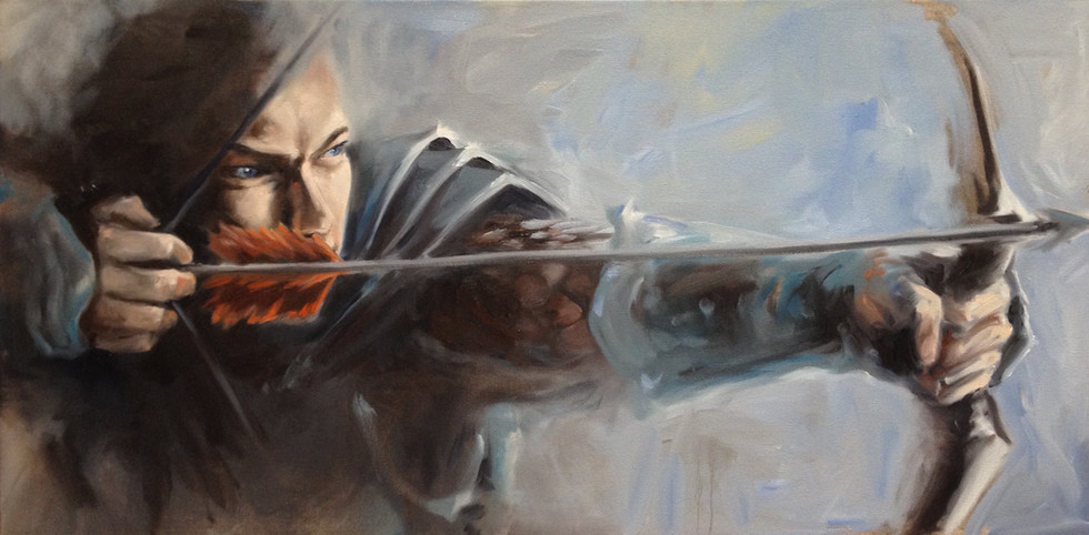 "Archer: The Arrow Already Exisits in the Target / Oil on Canvas / 24"" x 36"" / $2,800"