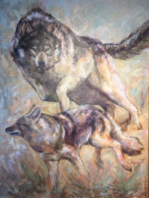"Defending the Kill / 48"" x 36"" / Oil on Canvas / $4900"