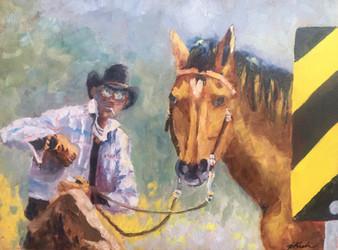 """Taking a Break / 12"""" x 16"""" / Oil on canvas / $290"""