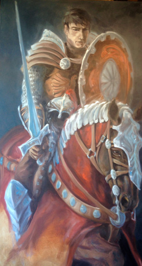 "First Guardian / Oil on Canvas / Work in Progress / 48"" x 84"" / $10,000"