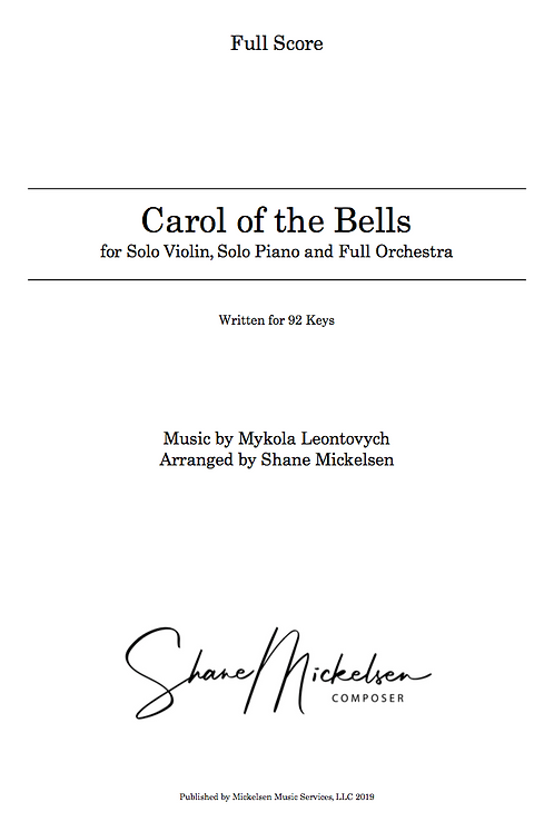 Carol of the Bells - 92 Keys | Full Orchestra and Solo Violin - Score and Parts