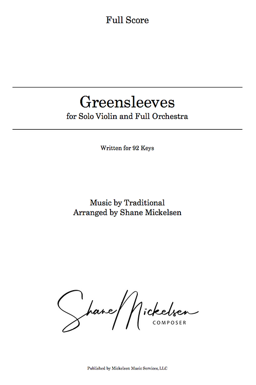 Greensleeves - 92 Keys | Full Orchestra and Solo Violin - Score and Parts