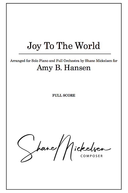Joy to the World - Solo Piano and Full Orchestra - Score and Parts